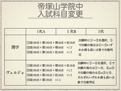 帝塚山学院中 入試科目変更