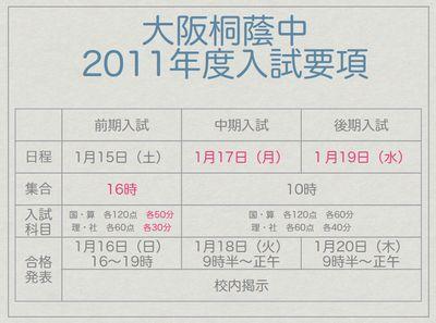 大阪桐蔭中 2011年度入試要項